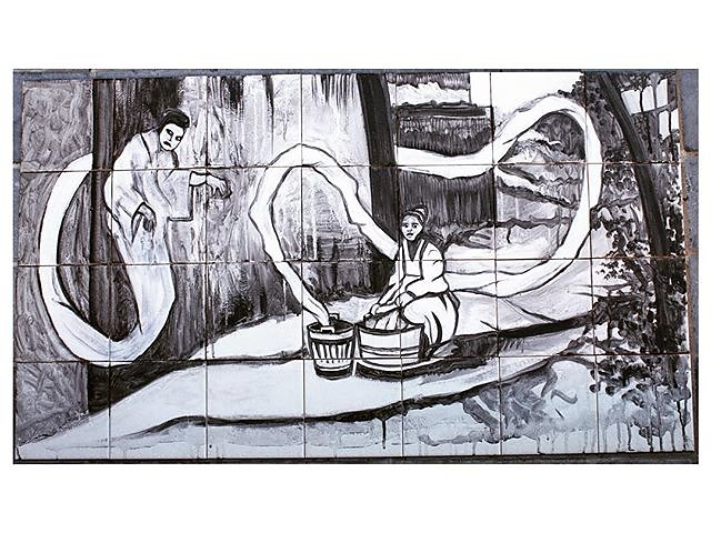 Tile mural of a Japanese washing ghost www.katrinashephard.com #raku #ceramics #tiles #japan #grafitti