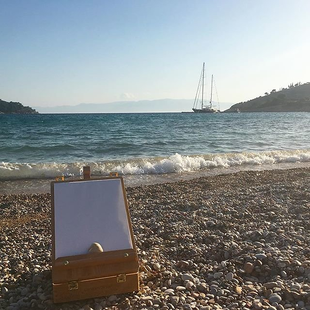 #beachlife #artcourse #spetses #greece #pleinair #painting